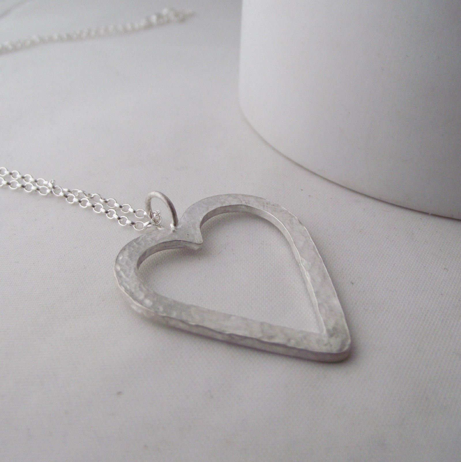 Necklace handmade sterling silver hammer finish large heart pendant stunning necklace handmade sterling silver hammer finish large heart pendant mozeypictures Images